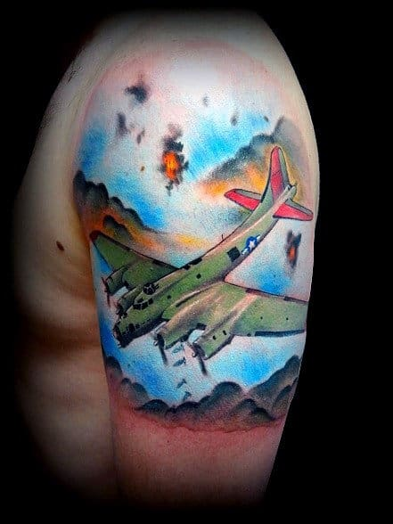 Guys Half Sleeve Planes Dropping Bombs Air Force Tattoos On Arm