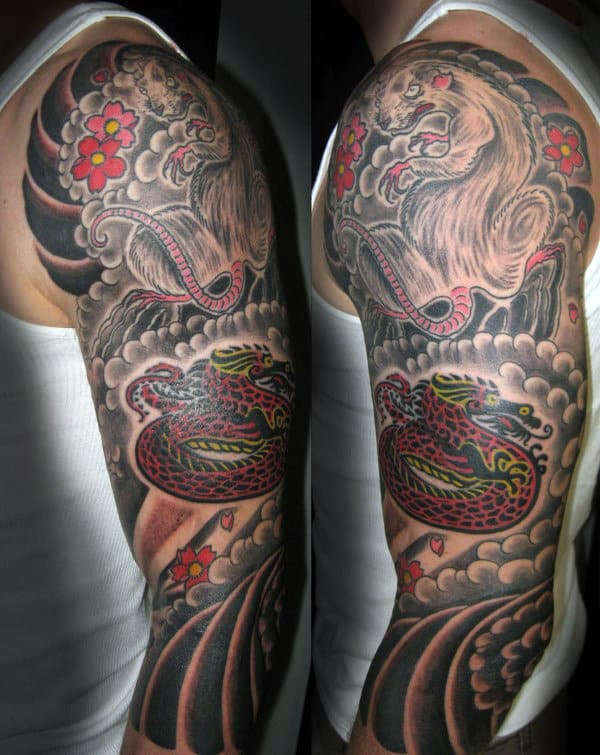 Guys Half Sleeve Rat And Snake Tattoo Designs