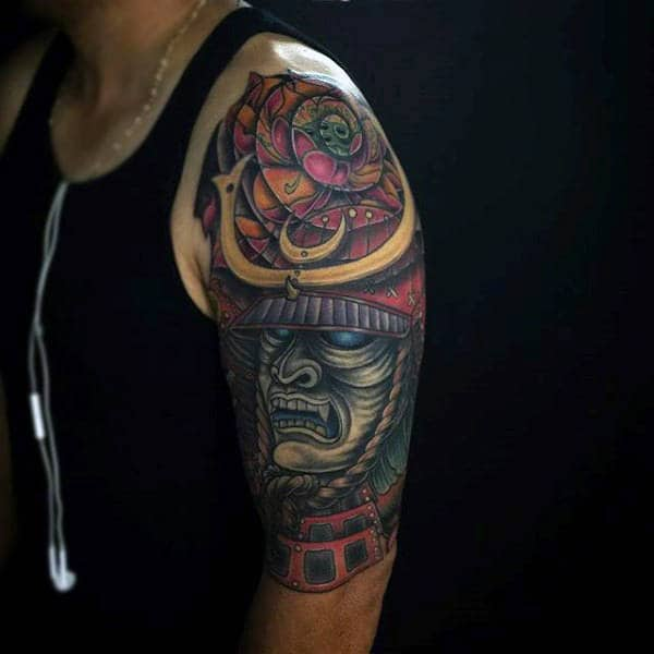 Guys Half Sleeve Samurai Mask Traditional Tattoo