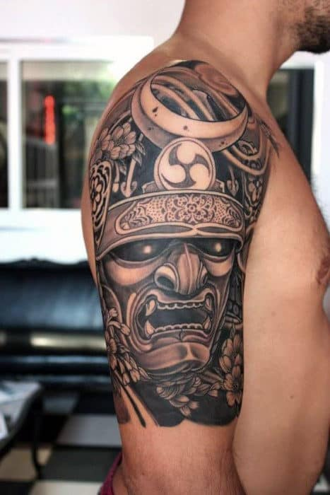 Guys Half Sleeve Shaded Samurai Mask With Half Moon Tattoo