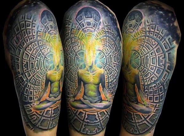 Guys Half Sleeve Tattoos With Consciousness Design