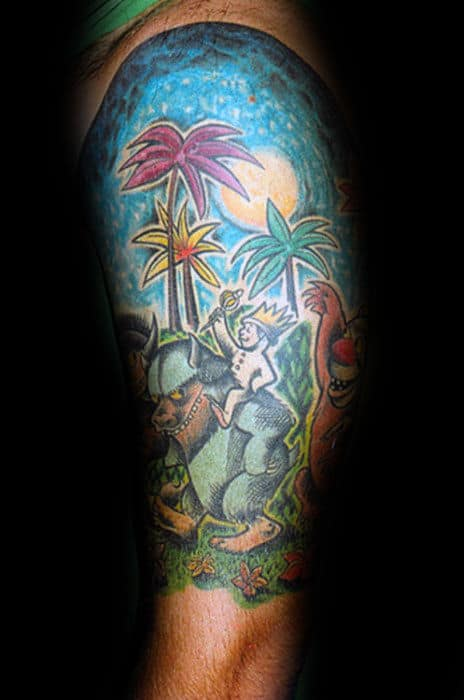 Guys Half Sleeve Where The Wild Things Are Tattoo Designs