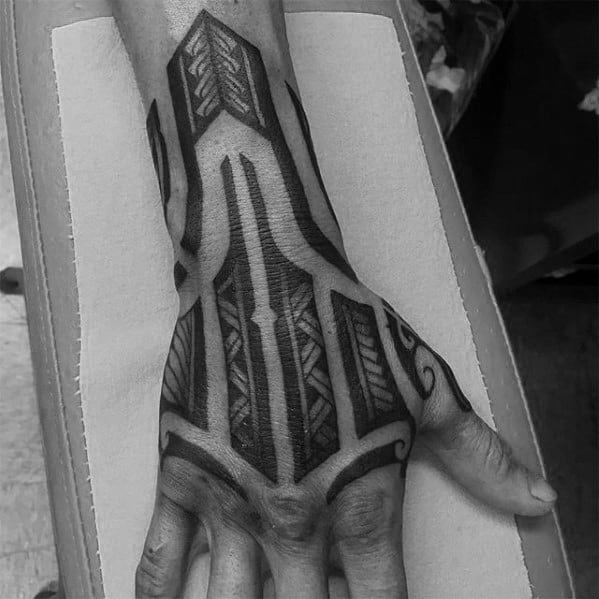 Guys Hand And Forearm Polynesian Tribal Tattoo