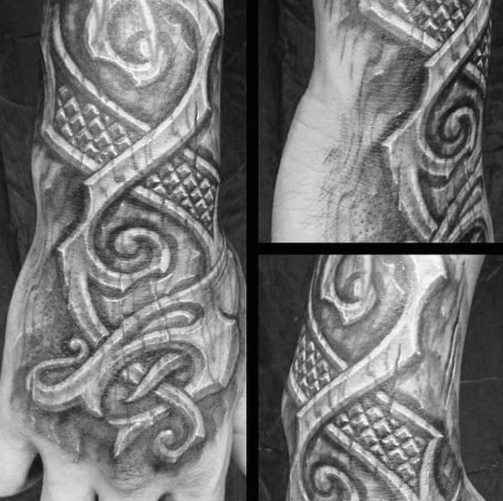 Guys Hand And Forearm Wood Carving Tattoos