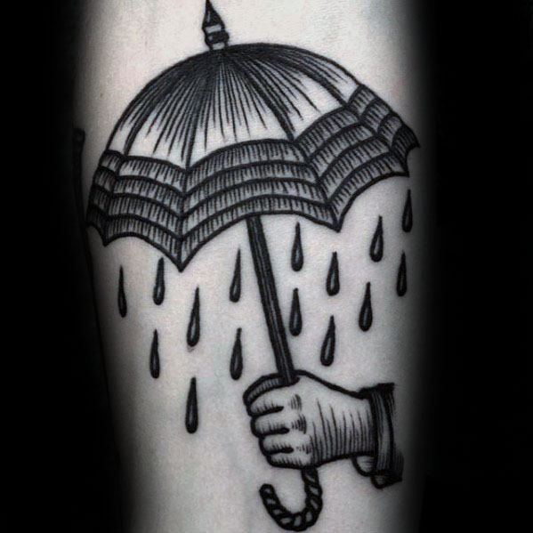 Guys Hand Holding Umbrella Tattoo Deisgns On Inner Forearm
