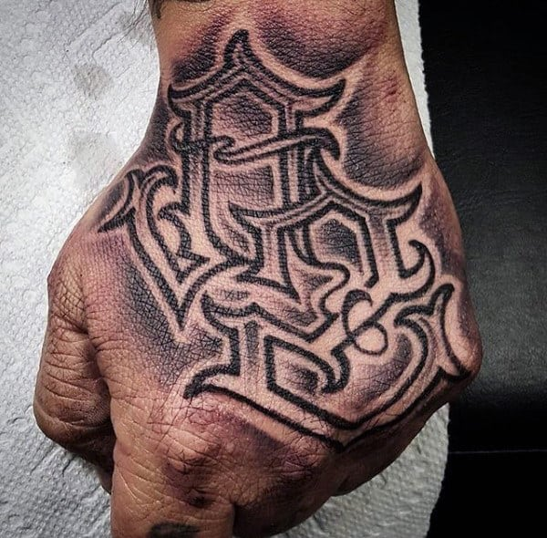 Guys Hand Traditional Lettering Tattoo
