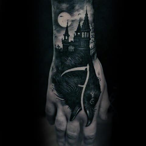 Guys Hands Full Moon Sick Beast Tatto