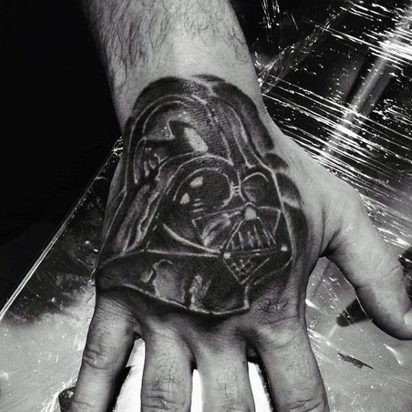 Guys Hands Grey Darth Vader Tattoo
