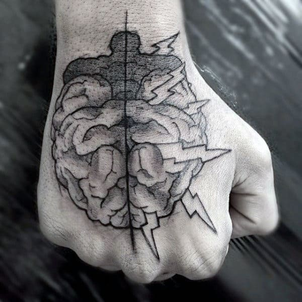 Guys Hands Lightening Brain Tattoo