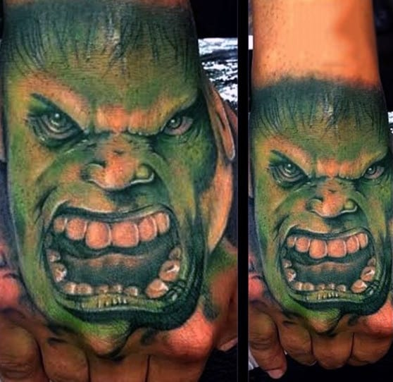 Guys Hands Open Mouthed Hulk Tattoo