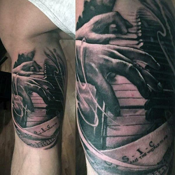 Guys Hands Playing The Piano Bicep Inner Arm Tattoo