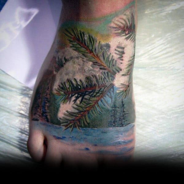 Guys Hands Sick Leafy Tree Tattoo
