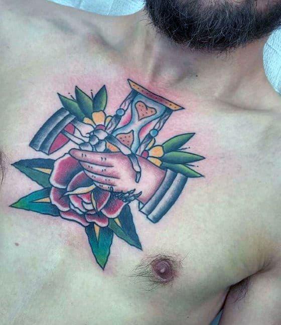 Guys Handshake Hurglass And Rose Flower Traditional Upper Chest Tattoo Deisgns