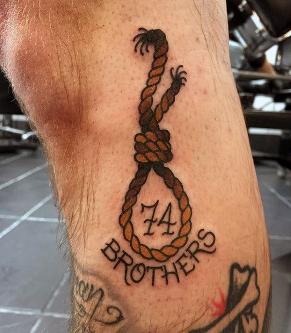 Guys Hanging Noose Tattoo Design On Forearm
