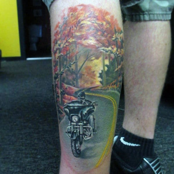 Guys Harley Davidson Memorial Tattoos Realistic Design Leg Sleeve