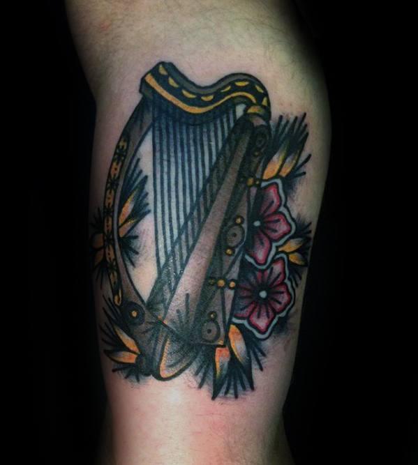 Guys Harp Tattoo Deisgns Old School Traditional Leg
