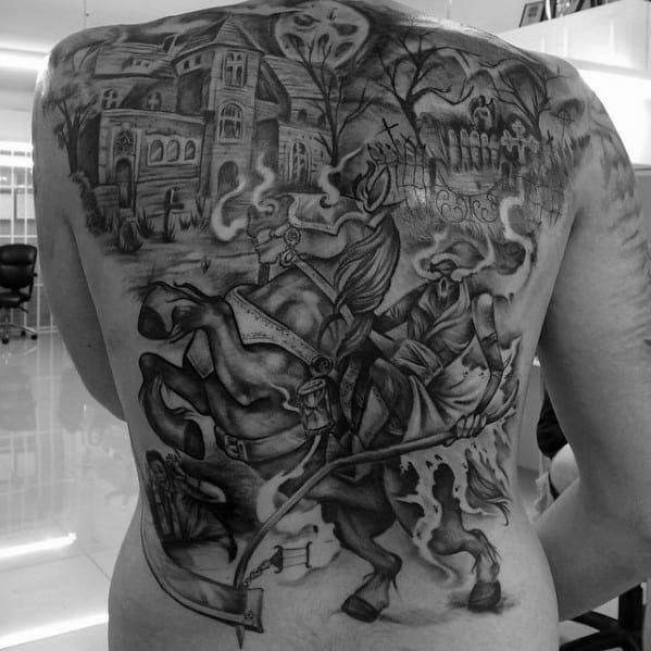 Guys Haunted House Tattoo Design Ideas