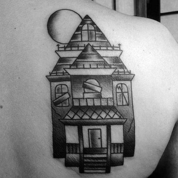 Guys Haunted House Tattoo Designs