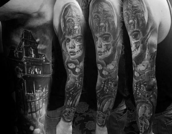 Guys Haunted House Tattoo