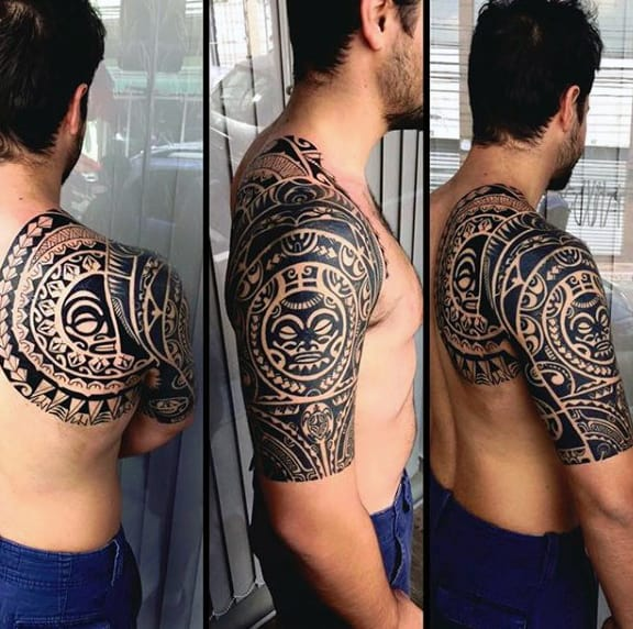 Guys Hawaiian Half Tribal Sleeve Tattoos