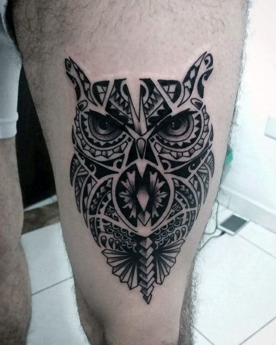 Guys Hawaiian Tribal Owl Thigh Tattoos