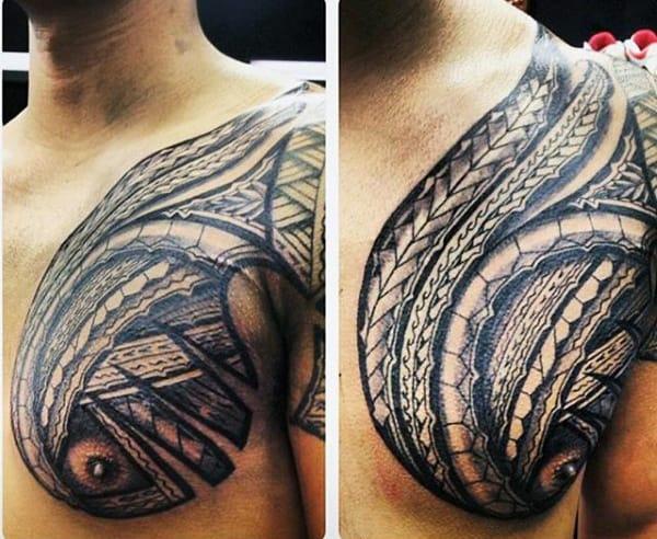 Guy's Hawaiian Tribal Tattoos For Men On Chest