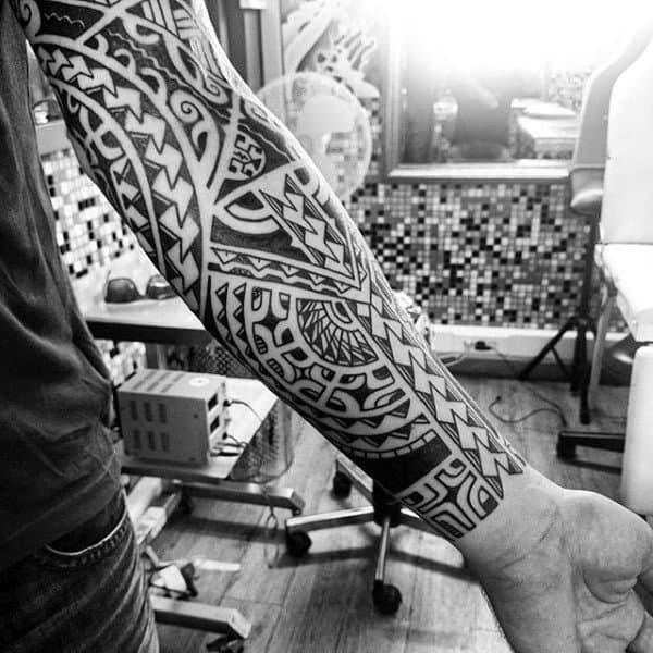 Guys Hawaiian Tribal Tattoos Sleeves