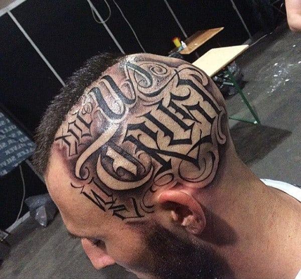 Guys Head Celtic Lettering Tattoo