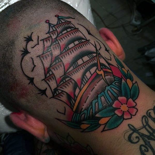 Guys Head Large Sailed Ship Tattoo