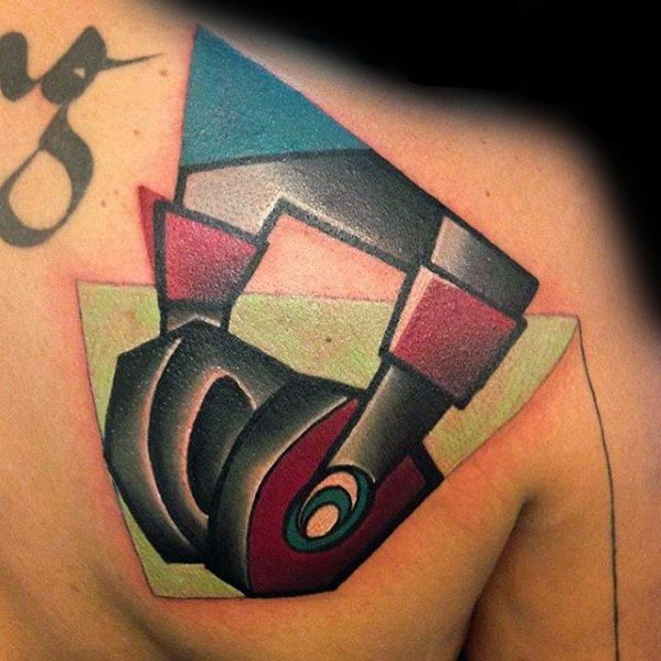 Guys Headphones Shoulder Tattoo Ideas Cubism Designs