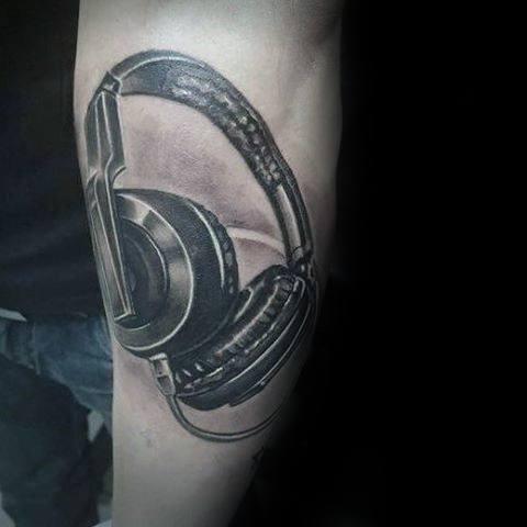 Guys Headphones Tattoo Design Ideas Outer Forearm