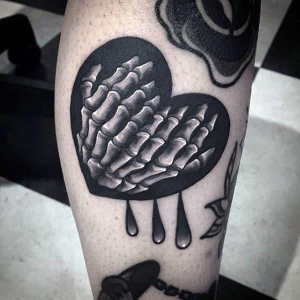 Guys Heart Skeleton Hand Drops Forearm Tattoo