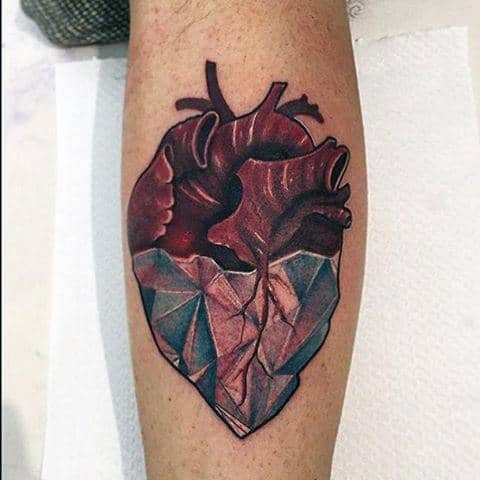 Guys Heart Tattoo In Neo Traditional Style On Forearm With Diamond Tip
