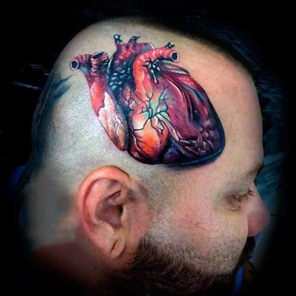 Guys Heart Tattoo In Realistic Style On Head