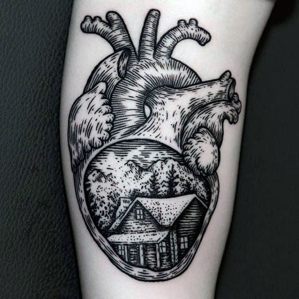 Guys Heart Tattoo Modern Black Ink With Wood Cabin On Leg