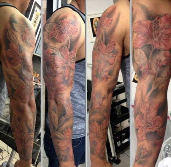 Red Ink Hibiscus With Tribal Tattoo On Left Half Sleeve