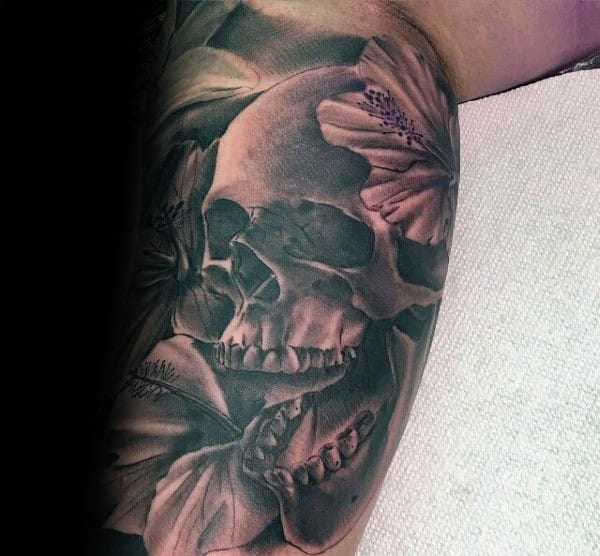 Guys Hibiscus Flower With Skull Black And Grey Tattoo