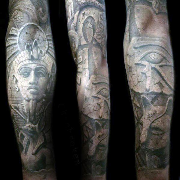 Guys Hieroglyphics Tattoos Full Arm Sleeve With 3d Stone Design