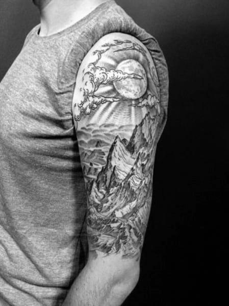Guys Hiking Tattoo Design Ideas