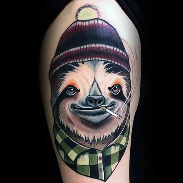 Guys Hipster Sloth Upper Arm Tattoos