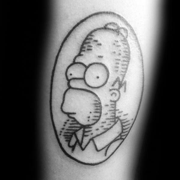 Guys Homer Simpson Sketched Smal Forearm Tattoo Deisgns