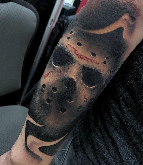 Guys Horror Movie Tattoo Design Ideas 3d Jason Mask