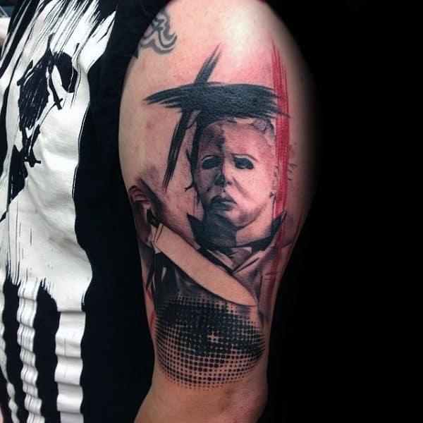 Guys Horror Trash Polka Abstract Upper Arm Tattoos