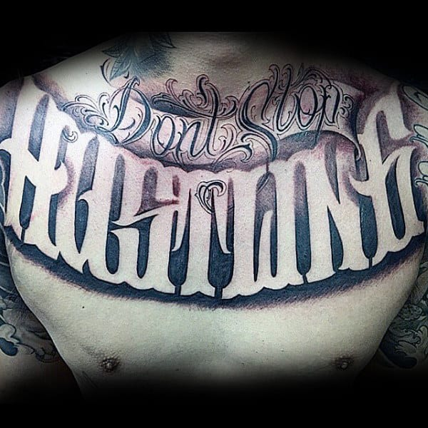 Guys Hustling Script Chest Tattoo Designs