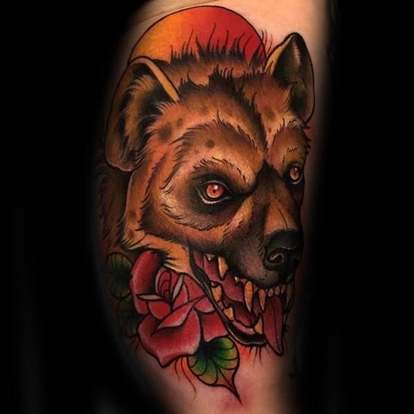 Guys Hyena Tattoo Designs On Leg