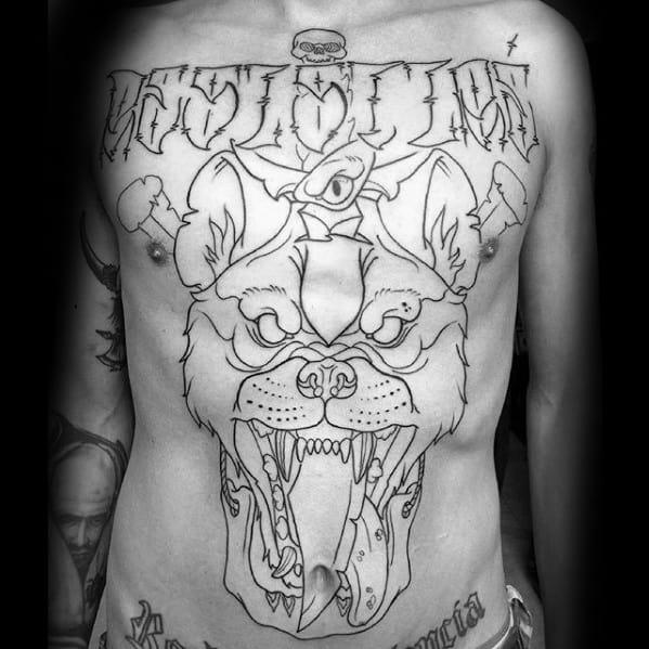 Guys Hyena Tattoos Full Chest