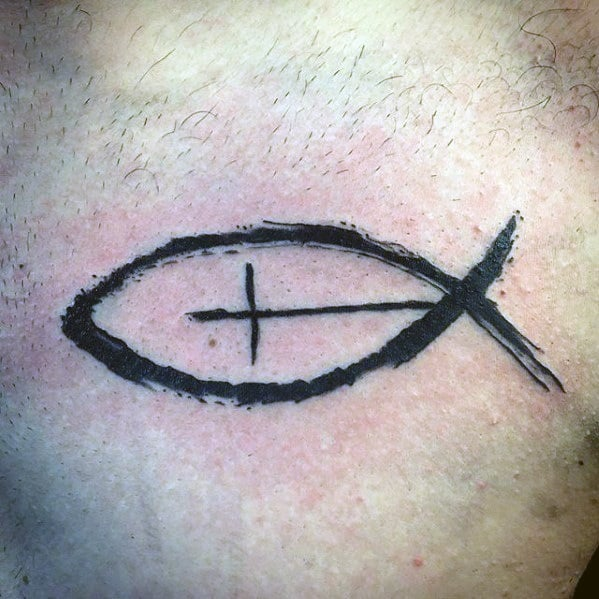 Guys Ichthus Tattoo Design Ideas Paint Brush Stroke On Chest