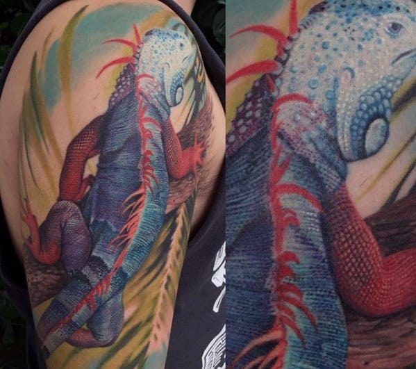 Guys Iguana Tattoo Designs