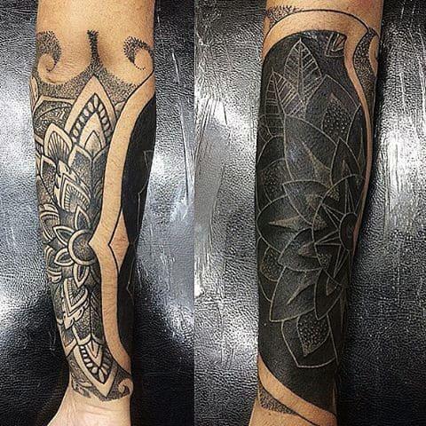 Guys Incredible Half Sleeve Forearm White Ink Tattoo
