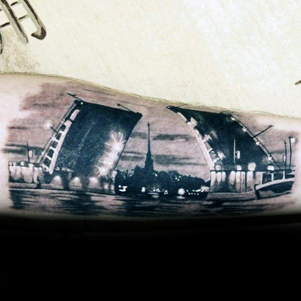Guys Incredible Tattoo Bridge Forearm Deisgns